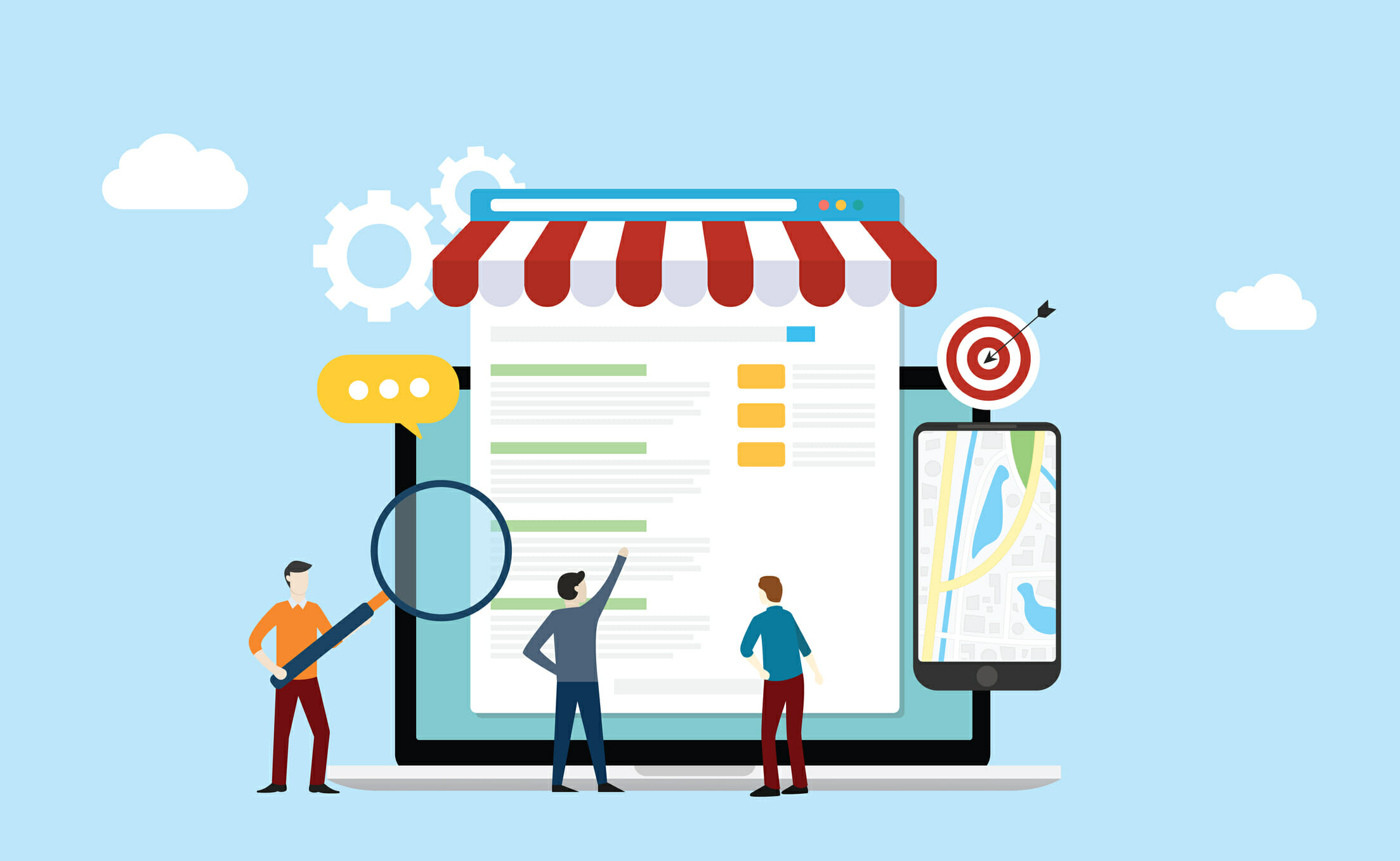 local seo market strategy business search engine optimization with team people working together on front of store and maps online – vector